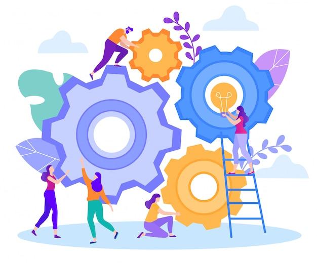 Cartoon flat big teamwork generation fresh ideas.