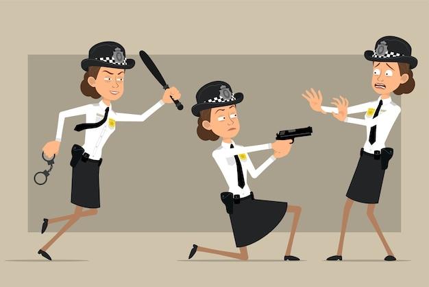 검은 모자와 배지와 유니폼에 만화 평면 영국 경찰관 여자 캐릭터. 지휘봉으로 실행하고 권총에서 촬영하는 소녀. 애니메이션 준비. 회색 배경에 고립. 세트.