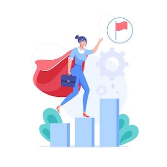 漫画のフラット ビジネス キャラクターは、成長チャート上の目標達成シンボルです。
