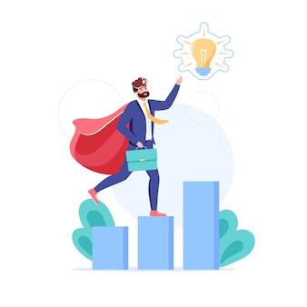 漫画のフラット ビジネス キャラクターは、成長チャートに新しいアイデアのシンボルを提示します。