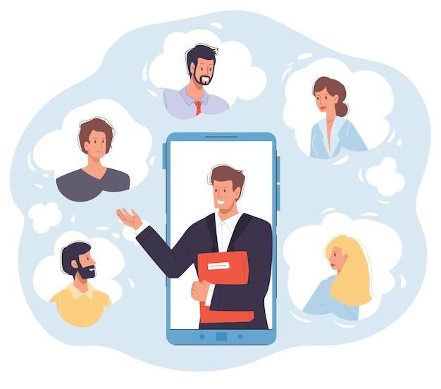 Мультяшный плоский бизнесмен персонажей онлайн-конференции