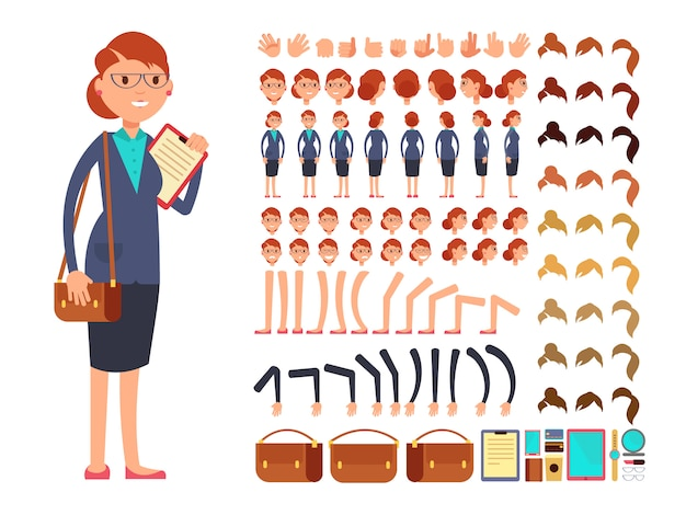 Cartoon flat businesswoman vector character constructor with set of body parts and different hand ge