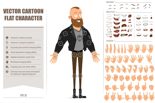 Cartoon flat character bearded punk man with mohawk in leather jacket. ready for animation. face expressions, eyes, brows, mouth and hands easy to edit.