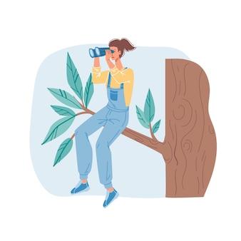 Cartoon flat character sitting on tree branch looking into the distance using binoculars