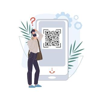Cartoon flat character study qr code on mobile smartphone