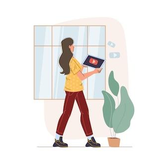空白の画面を持つモバイル ガジェット タブレット スマートフォンを使用した漫画のフラット キャラクター
