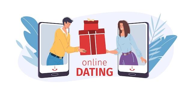 漫画のフラットなキャラクターのカップルは、モバイルアプリをデートオンラインサイトで通信します