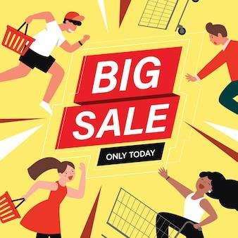 Clienti di personaggi piatti dei cartoni animati su grandi vendite, concetto di acquisto.