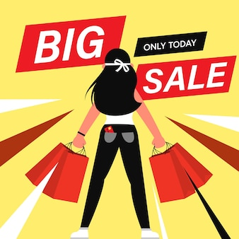 Cartoon flat characters customers on big sales, shopping concept.