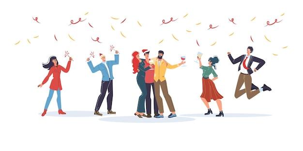 Мультяшные плоские персонажи друзья счастливы обниматься, радоваться вместе, дружная команда молодых людей на вечеринке празднует