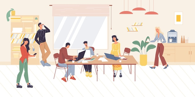 Мультяшные плоские персонажи офисных работников, занятые сотрудники, занимающиеся бизнесом
