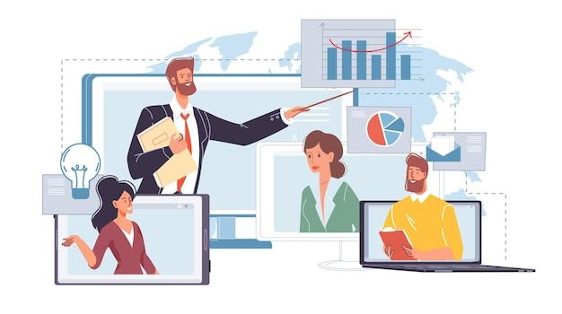 Плоские герои мультфильмов общаются в сети с коллегами-друзьями