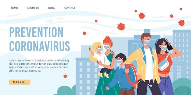 Cartoon flat characters wear face maskscoronavirus