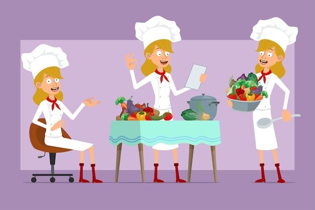 白い制服とパン屋の帽子の漫画フラットシェフ料理人女性キャラクター。メモを読んで、さまざまな野菜から食べ物を調理する女の子。