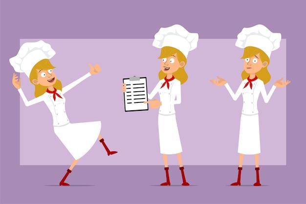 白い制服とパン屋の帽子の漫画フラットシェフ料理人女性キャラクター。レストランのメニューを表示し、親指を立てて踊る女の子。