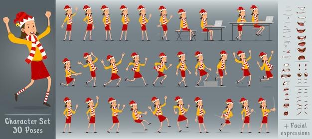Cartoon flat christmas girl character vector set