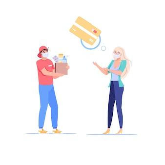 Мультяшный плоский персонаж покупателя платит доставщику за заказ с помощью nfc