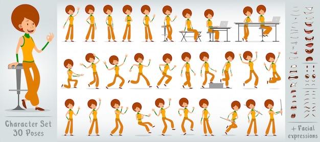 Cartoon flat disco girl character big vector set