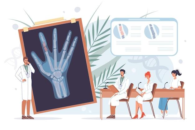 Герои мультфильмов плоские доктора за работой в униформе лабораторных халатов изучают рентгеновское изображение