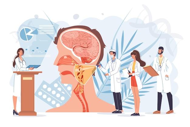 仕事と治療の概念で漫画フラットドクターキャラクター