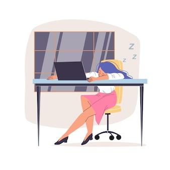 Cartoon flat employee character at work stress scene