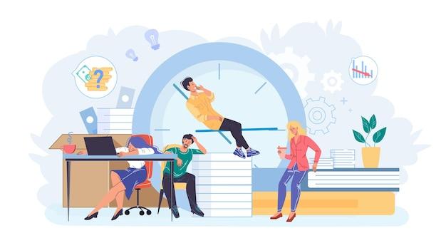 Cartoon flat employee characters at work stress scene