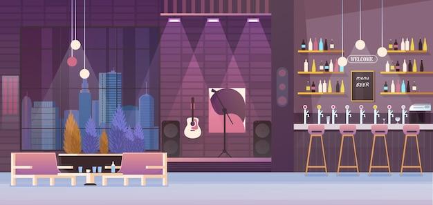 Cartoon flat empty modern restaurant or night club cafe