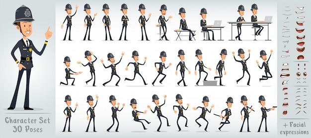Cartoon flat english police boy character big set