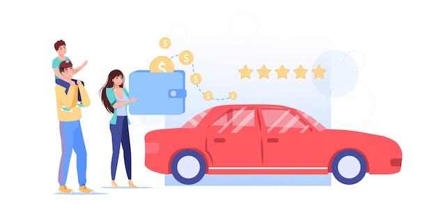 Мультфильм плоский семейный персонаж купить машину