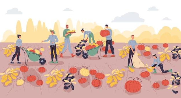 Мультяшные плоские фермерские персонажи собирают урожай