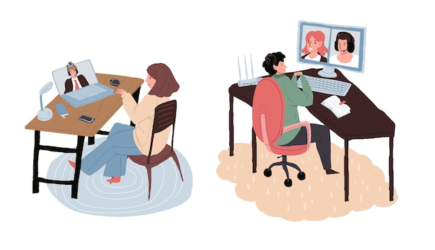 Cartoon flat freelancer characters online talk with colleagues,boss.