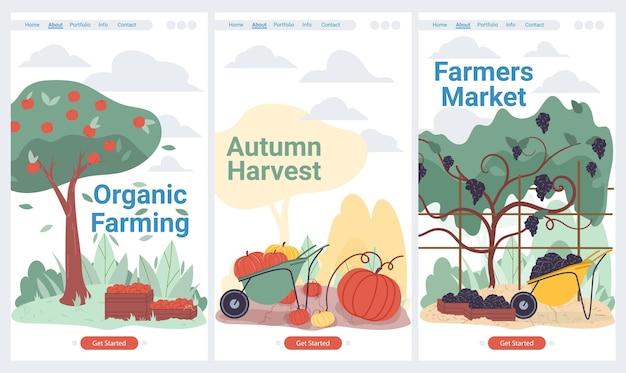 Мультфильм плоский урожай фруктов и овощей на сельскохозяйственных угодьях