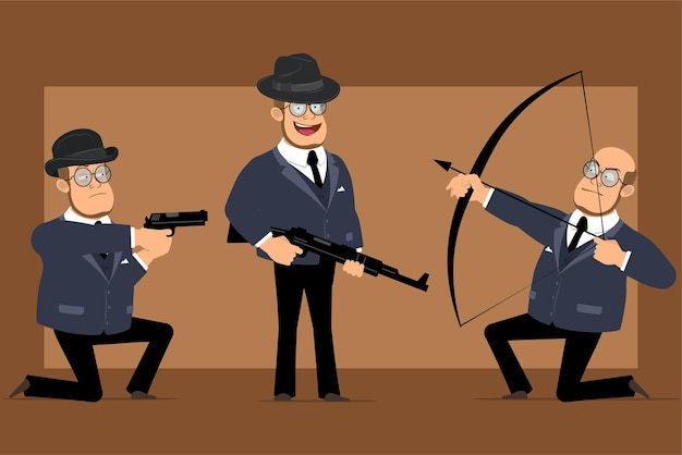 Cartoon flat funny bald professor man character in dark suit and glasses. boy holding rifle, shooting from pistol, bow and arrow.