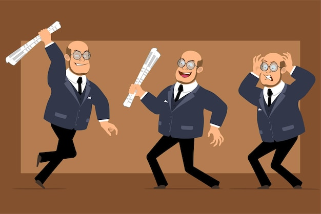 Cartoon flat funny bald professor man character in dark suit and glasses. boy holding, running and fighting with newspaper.