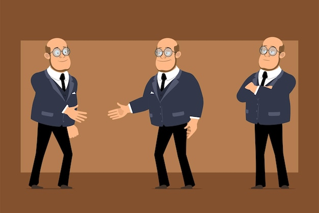 Cartoon flat funny bald professor man character in dark suit and glasses. boy posing and shaking hands with friend.