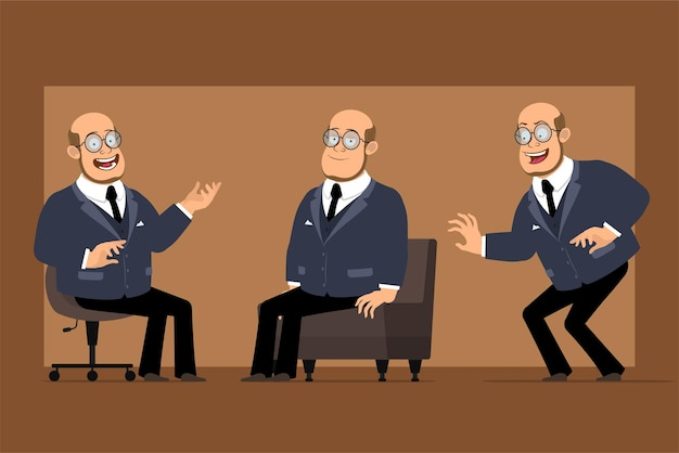 Cartoon flat funny bald professor man character in dark suit and glasses. boy posing, sneaking and resting on sofa.