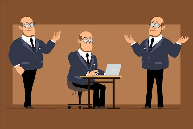 Cartoon flat funny bald professor man character in dark suit and glasses. boy posing and working on laptop.