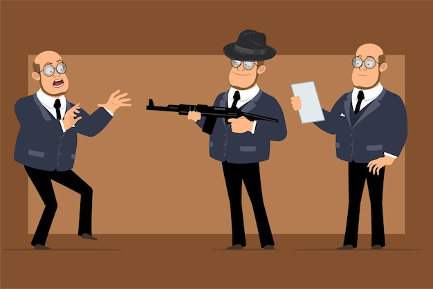 Cartoon flat funny bald professor man character in dark suit and glasses. boy scared, reading note and shooting from rifle.