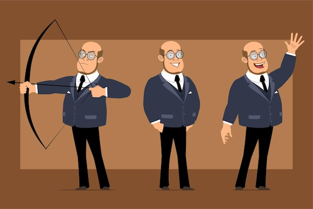 Cartoon flat funny bald professor man character in dark suit and glasses. boy shooting from bow and showing bye gesture.