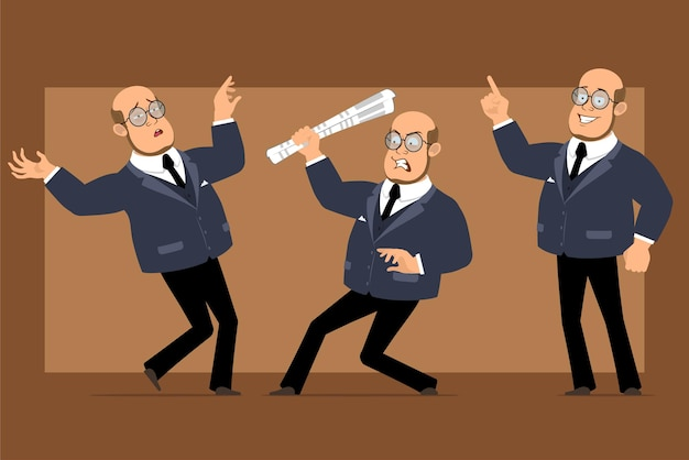 Cartoon flat funny bald professor man character in dark suit and glasses. boy showing attention sign and falling down.