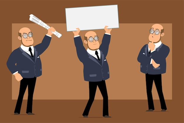 Cartoon flat funny bald professor man character in dark suit and glasses. boy thinking and holding empty paper sign for text.
