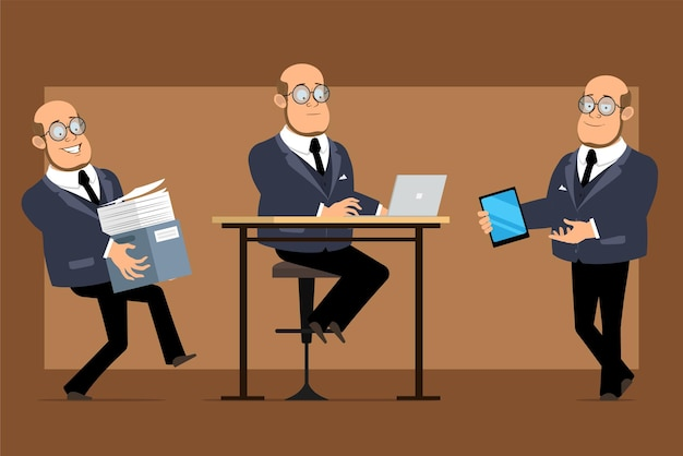 Cartoon flat funny bald professor man character in dark suit and glasses. boy working on laptop and carrying paper box with documents.