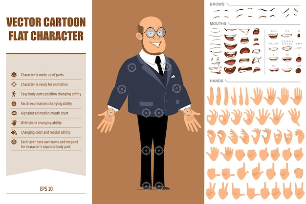 Cartoon flat funny bald professor man character in dark suit and glasses. face expressions, eyes, brows, mouth and hands.