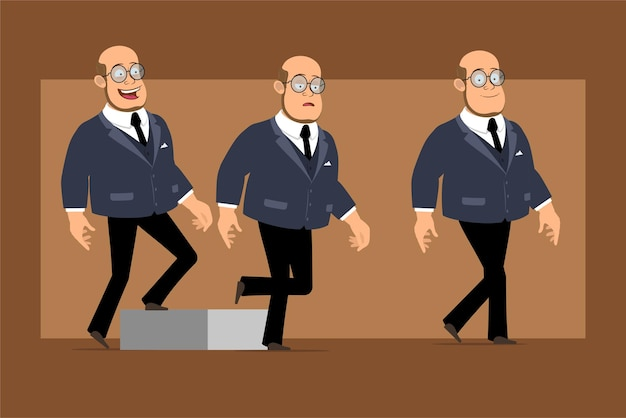 Cartoon flat funny bald professor man character in dark suit and glasses. successful tired boy walking up to his goal.