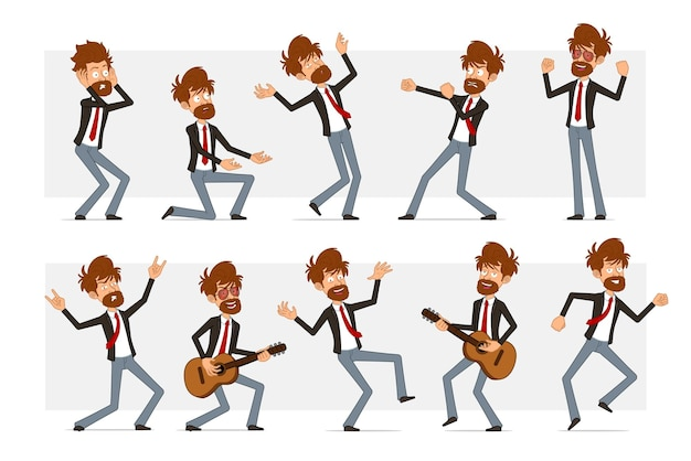 Cartoon flat funny bearded businessman character in black suit and red tie. boy fighting, falling, dancing and playing on guitar.