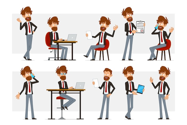 Cartoon flat funny bearded businessman character in black suit and red tie. boy reading note working on laptop and talking on phone.