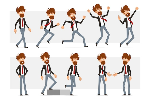 Cartoon flat funny bearded businessman character in black suit and red tie. boy shaking hands, running and walking up to his goal.