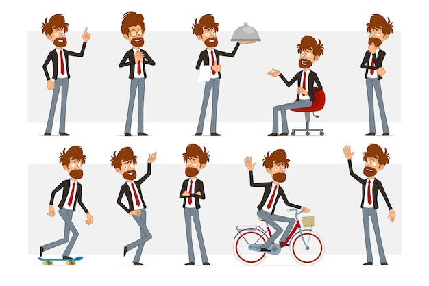 Cartoon flat funny bearded businessman character in black suit and red tie. boy thinking, posing, riding on skateboard and bicycle.