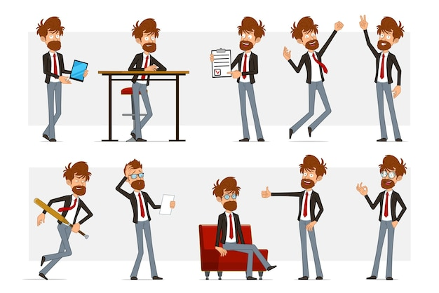 Мультяшный плоский смешной бородатый бизнесмен в черном костюме и красном галстуке. мальчик отдыхает, прыгает, показывает палец вверх, знак мира и хорошо.