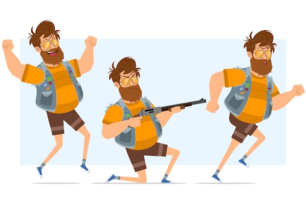 Cartoon flat funny bearded fat hipster man character in jeans jerkin and sunglasses. ready for animation. boy running, jumping and shooting from shotgun. isolated on blue background.